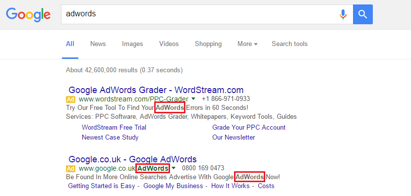 Google AdWords Keyword Bolding