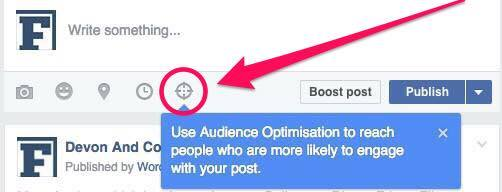 Facebook's Audience Optimisation tool - step 1