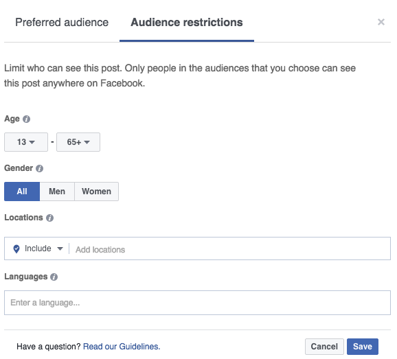 Facebook's Audience restrictions