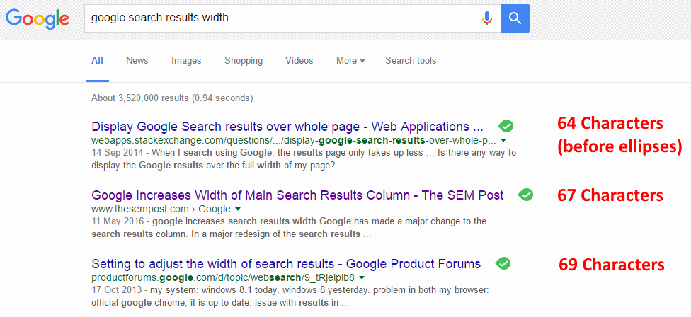 Google Search Results Width