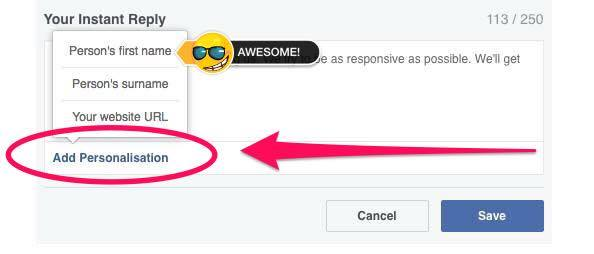 Personalise your Instant Replies