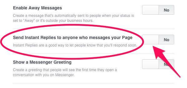 Switch on Facebook's Instant Replies