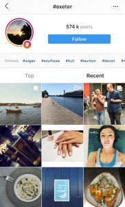 A cropped screenshot of the #Exeter search results on Instagram
